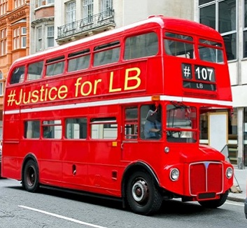 A London bus with a Justice for LB sign